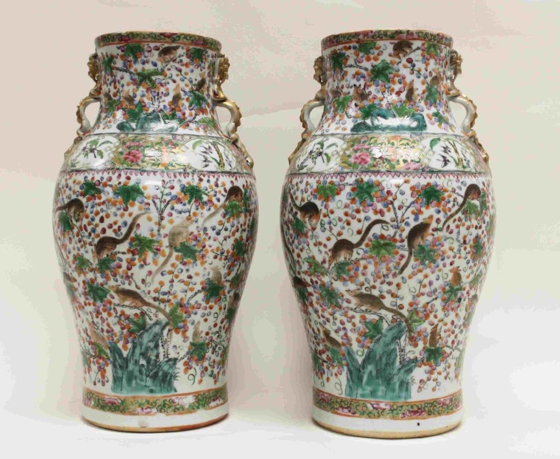 Pair Antique Chinese Famille Verti Dragon Vases