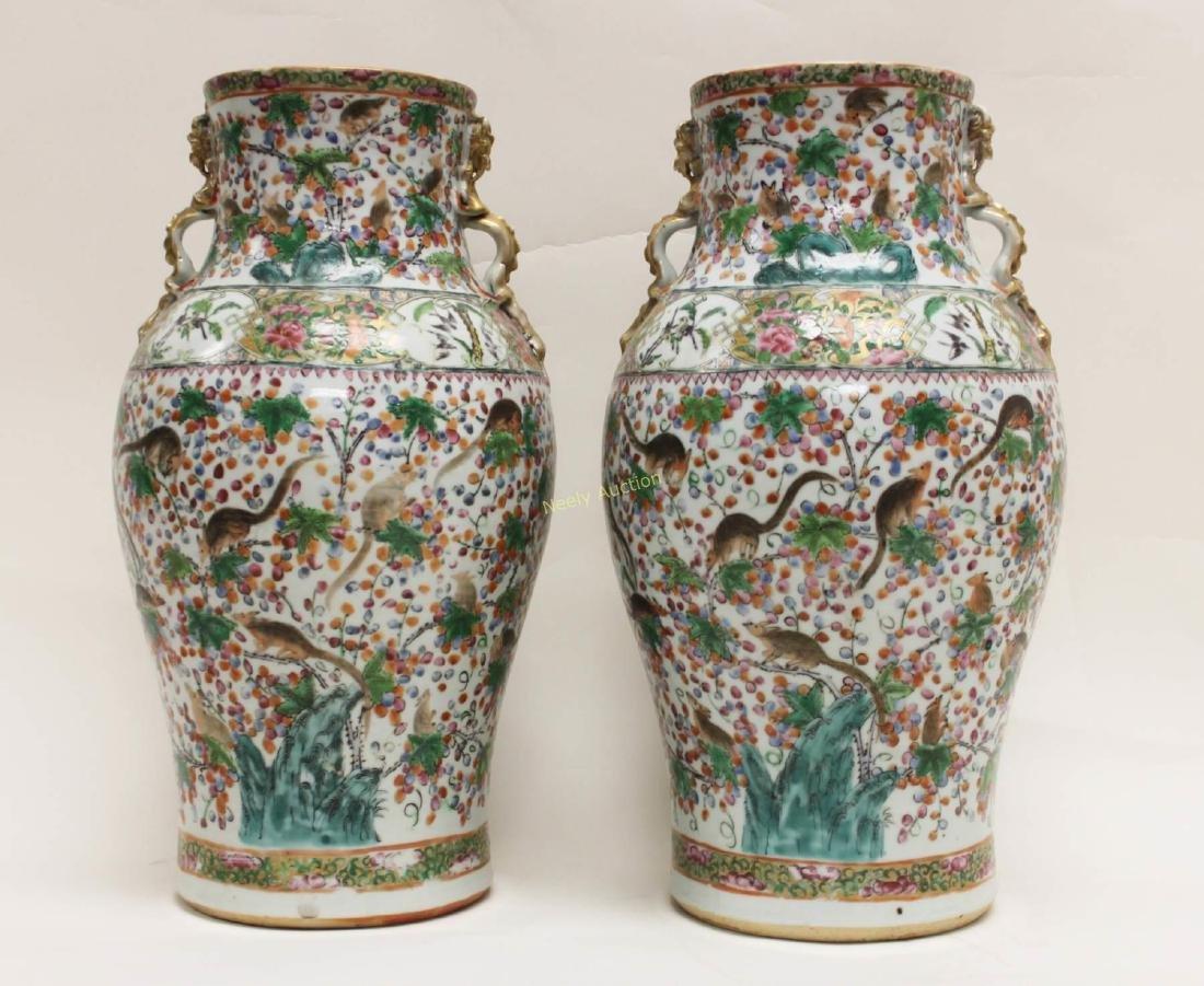 Pair Antique Chinese Famille Verti Dragon Vases - 2