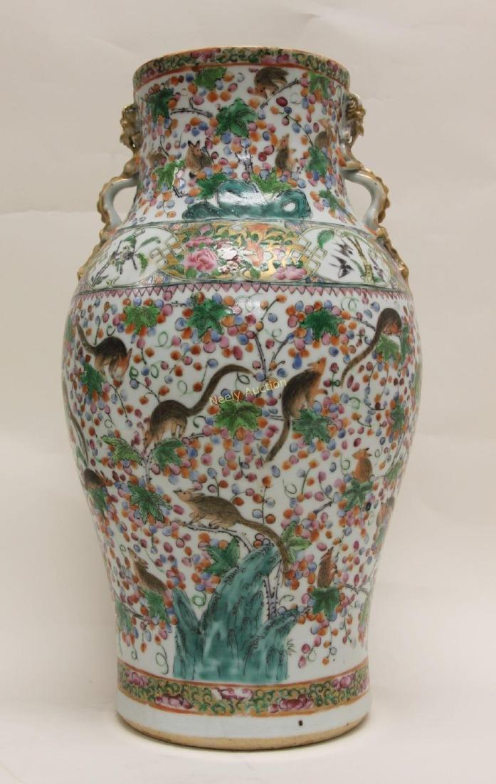 Pair Antique Chinese Famille Verti Dragon Vases - 3