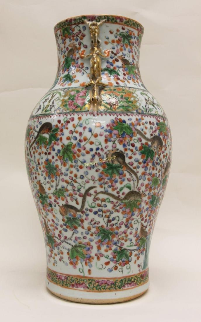 Pair Antique Chinese Famille Verti Dragon Vases - 4