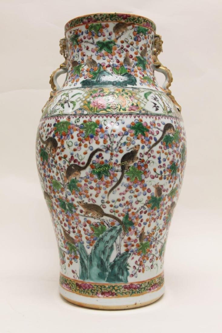 Pair Antique Chinese Famille Verti Dragon Vases - 5