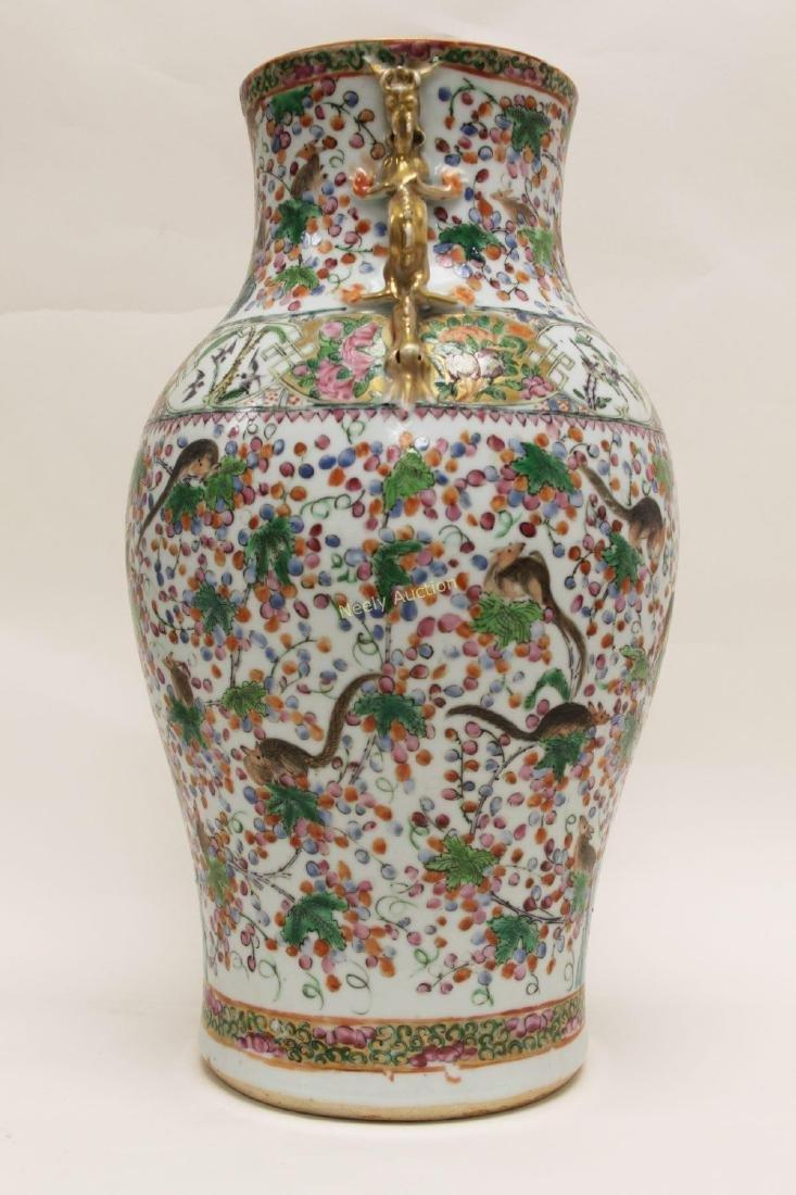 Pair Antique Chinese Famille Verti Dragon Vases - 6
