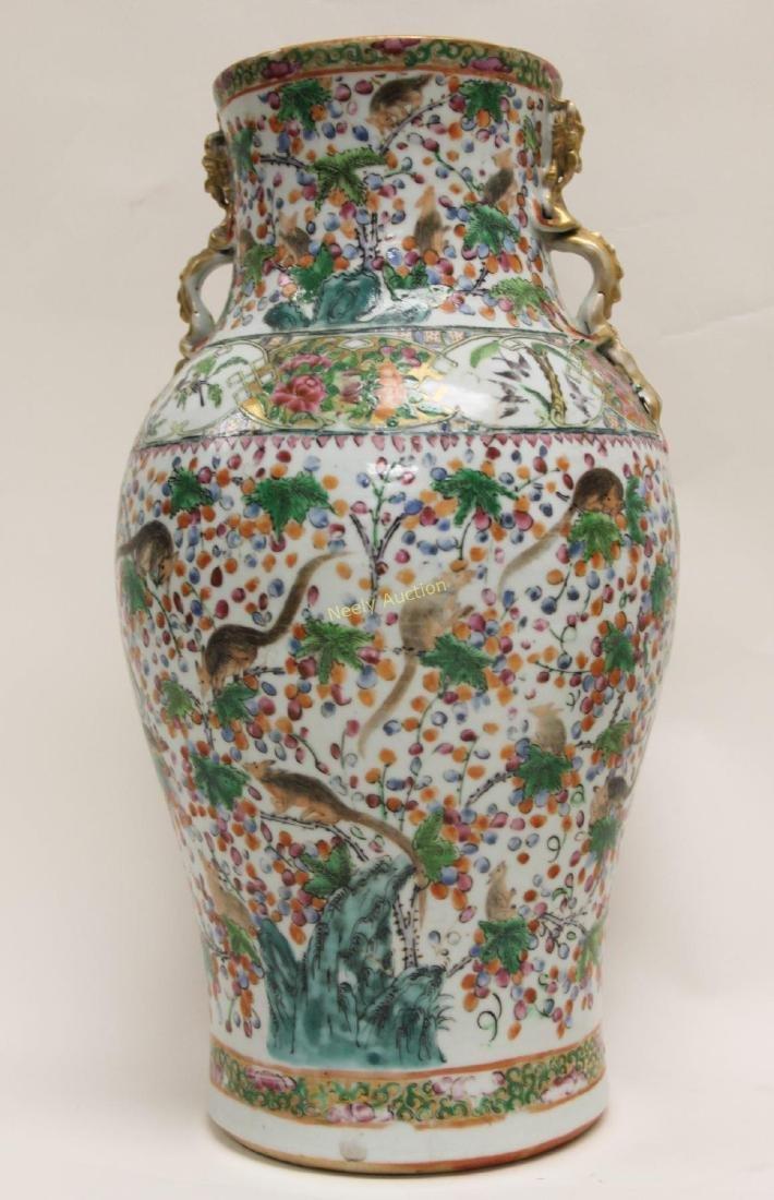 Pair Antique Chinese Famille Verti Dragon Vases - 7