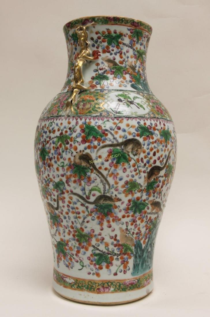 Pair Antique Chinese Famille Verti Dragon Vases - 8