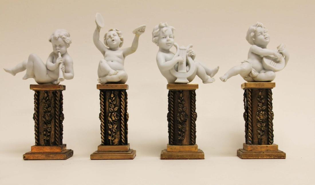 4 Cherub Musicians Performing Dore Bronze Pillars