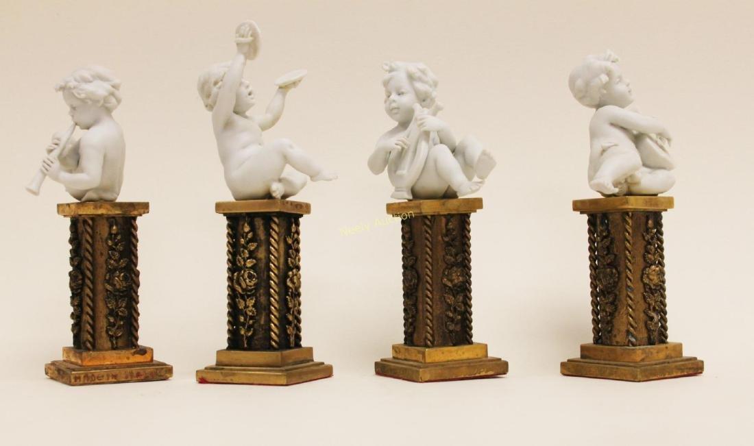 4 Cherub Musicians Performing Dore Bronze Pillars - 2