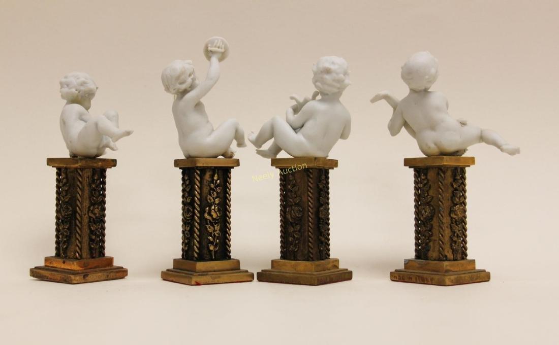 4 Cherub Musicians Performing Dore Bronze Pillars - 4