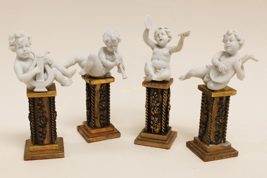 4 Cherub Musicians Performing Dore Bronze Pillars - 5