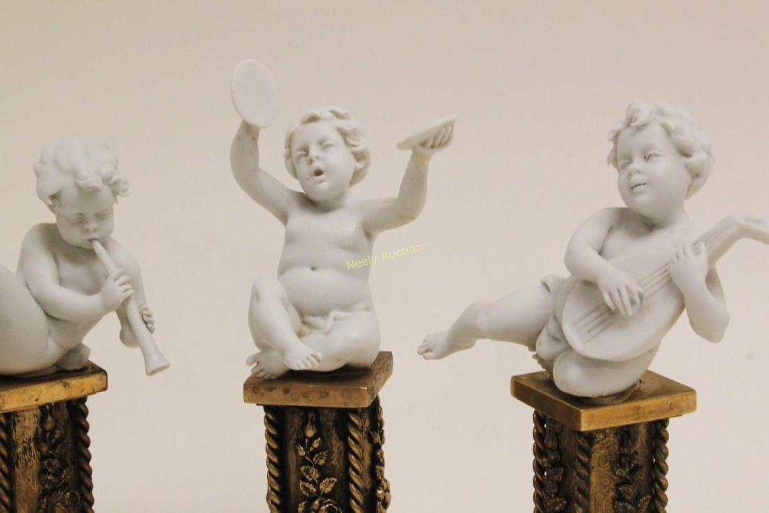 4 Cherub Musicians Performing Dore Bronze Pillars - 7