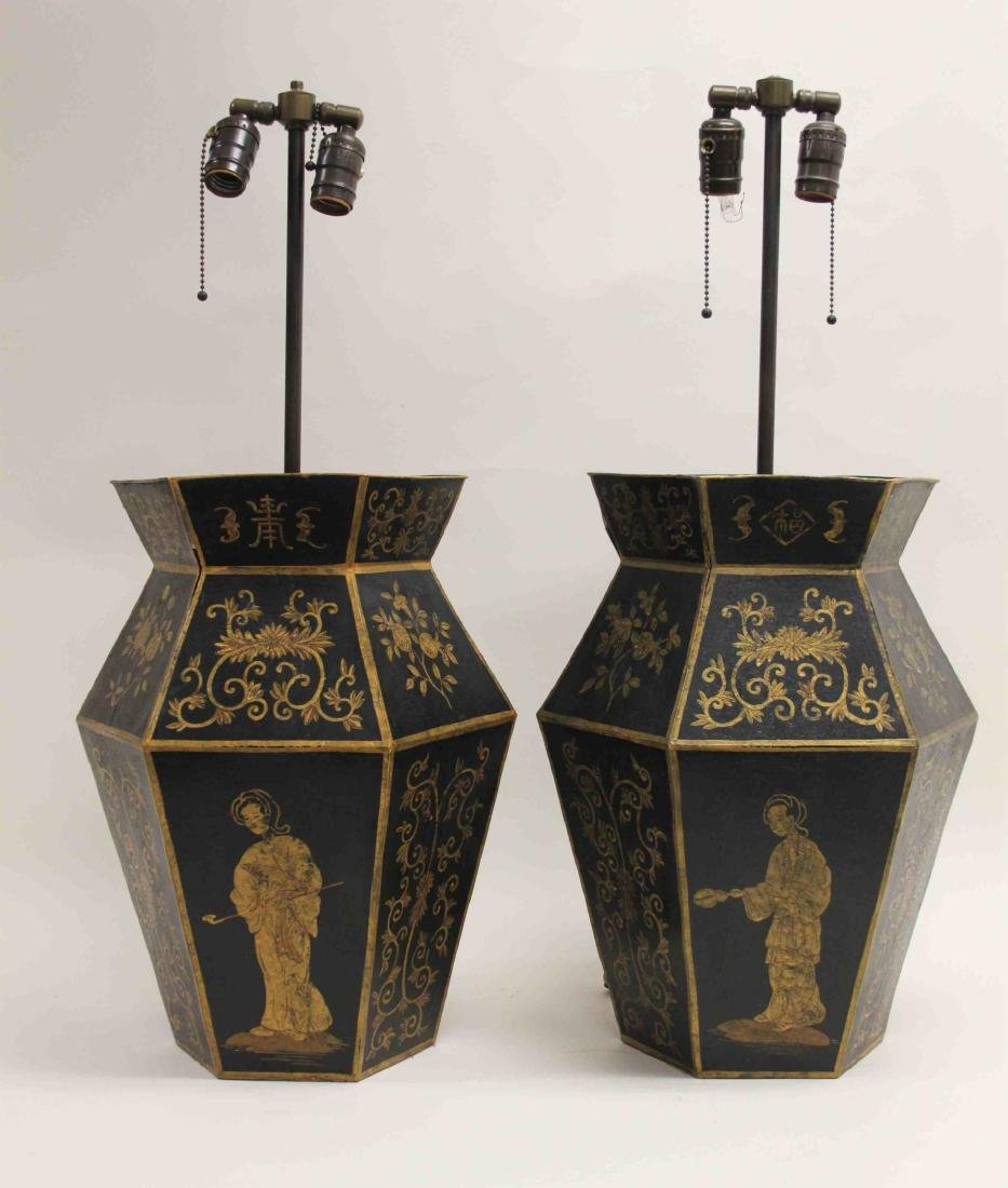 Pair Chinoiserie Tole Ware Lamps Woman Opium Pipe