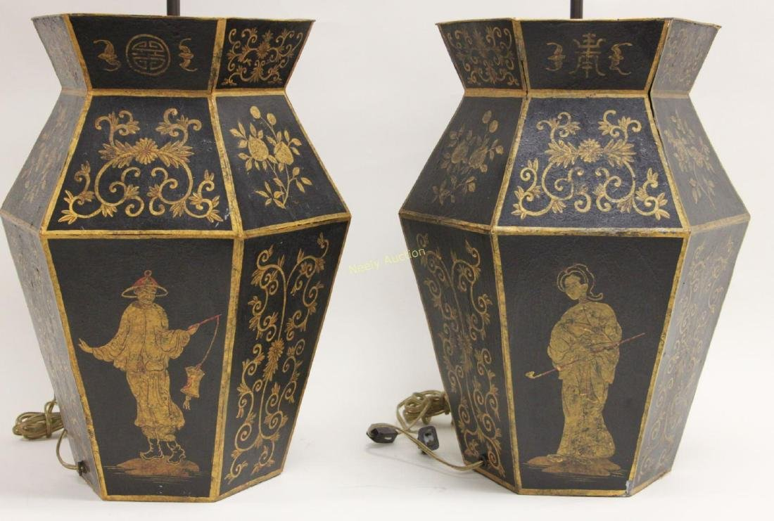 Pair Chinoiserie Tole Ware Lamps Woman Opium Pipe - 3