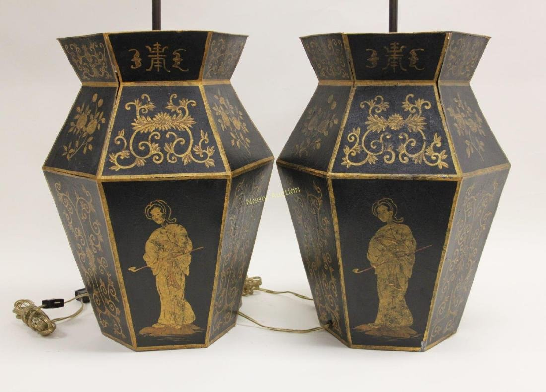 Pair Chinoiserie Tole Ware Lamps Woman Opium Pipe - 4