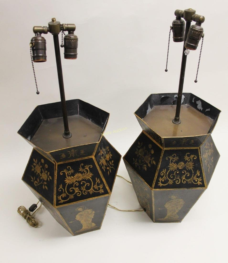 Pair Chinoiserie Tole Ware Lamps Woman Opium Pipe - 7