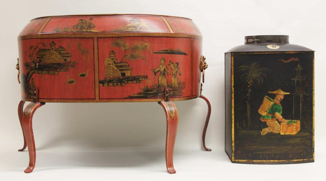 Antique Tin Tea Box & Tole Ware Fireplace Wood Box