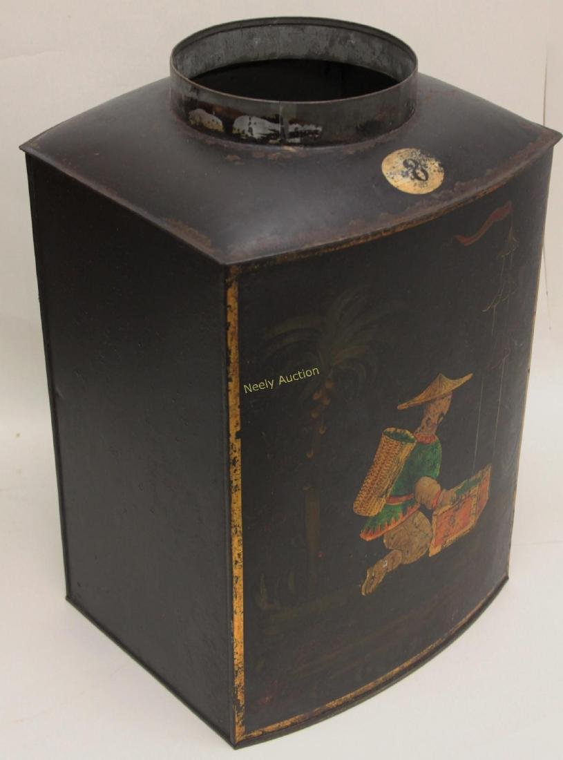 Antique Tin Tea Box & Tole Ware Fireplace Wood Box - 3