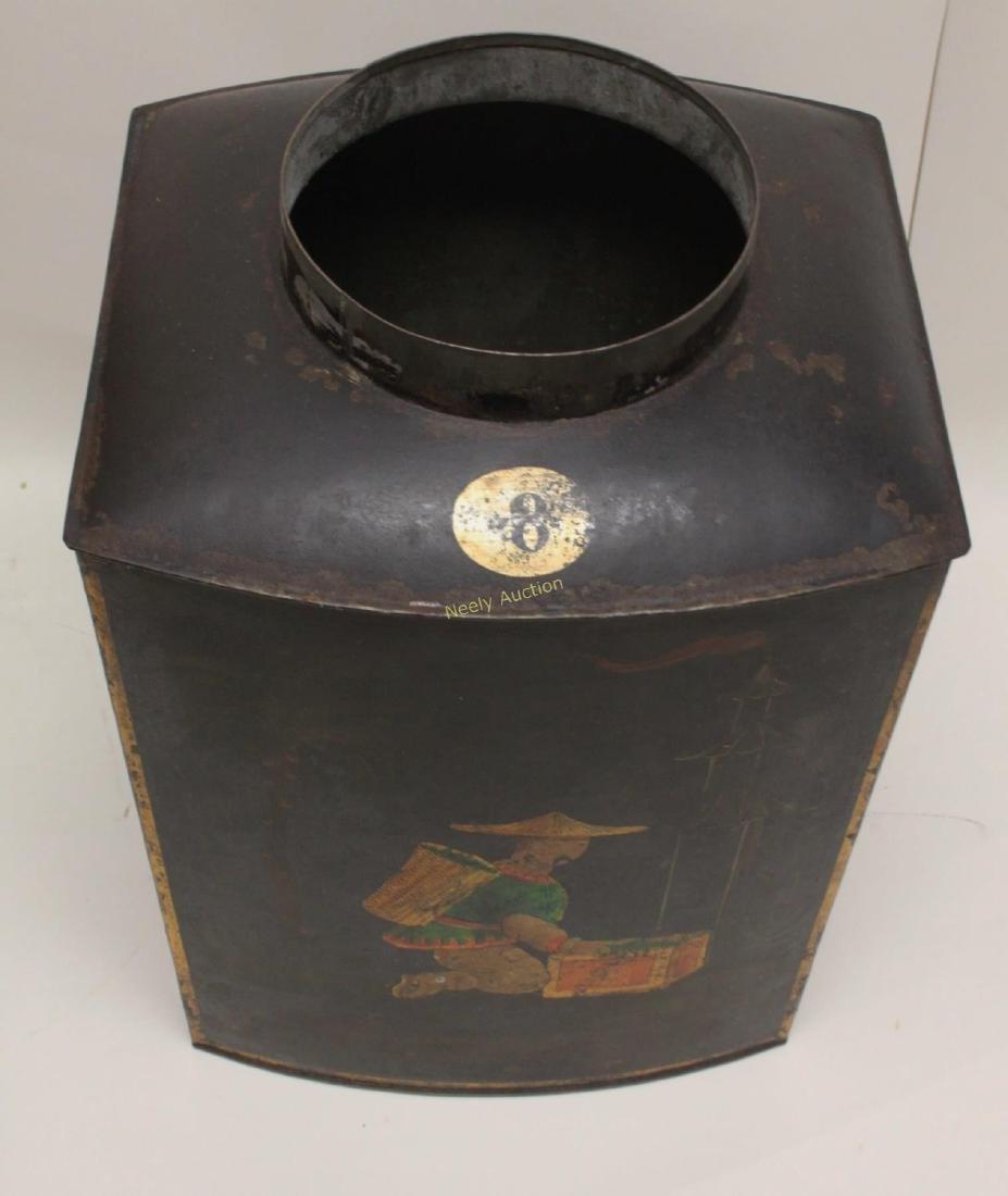 Antique Tin Tea Box & Tole Ware Fireplace Wood Box - 4