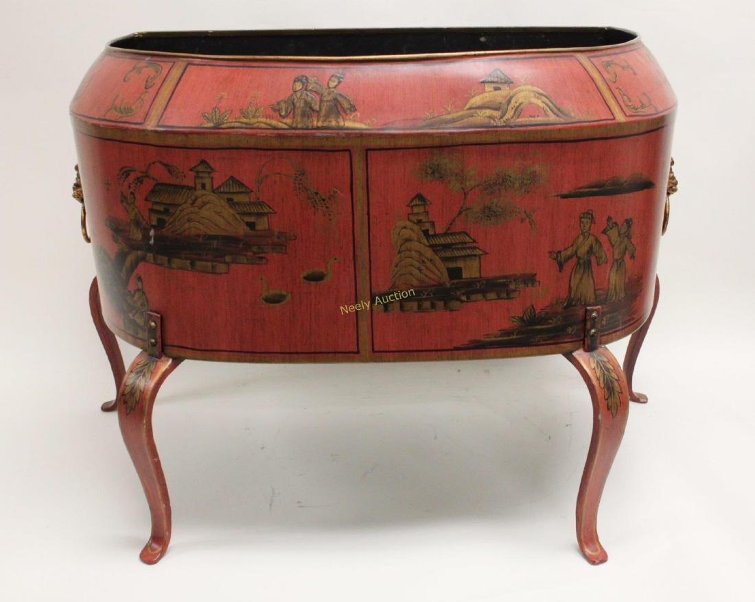 Antique Tin Tea Box & Tole Ware Fireplace Wood Box - 7