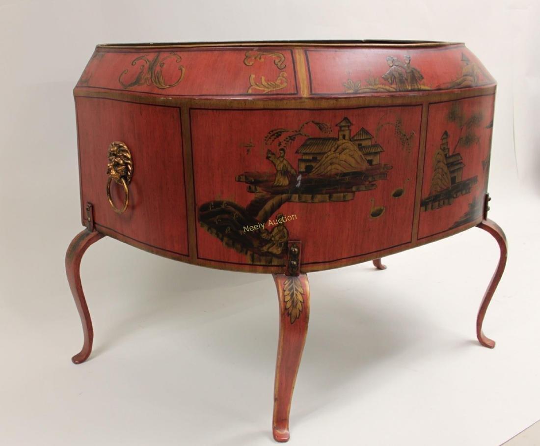 Antique Tin Tea Box & Tole Ware Fireplace Wood Box - 8