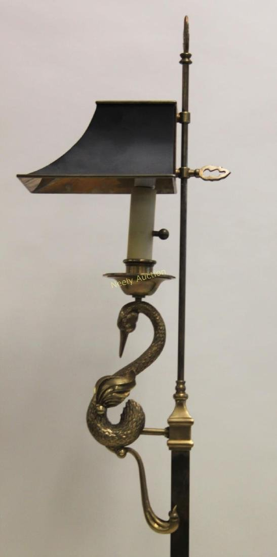 French Empire Brass Reading Lamp w Swan Tole Shade - 3