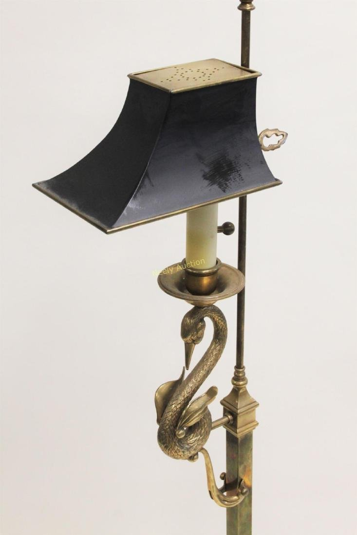 French Empire Brass Reading Lamp w Swan Tole Shade - 7