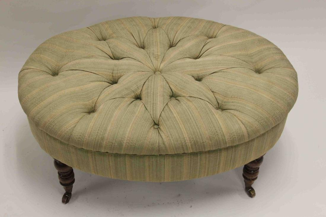 Victorian Tufted Oval Ottoman Legs w Casters