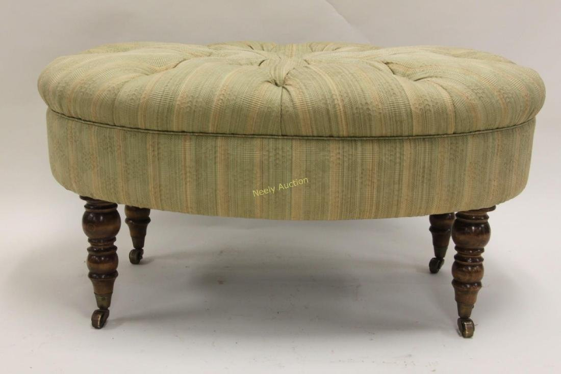 Victorian Tufted Oval Ottoman Legs w Casters - 2