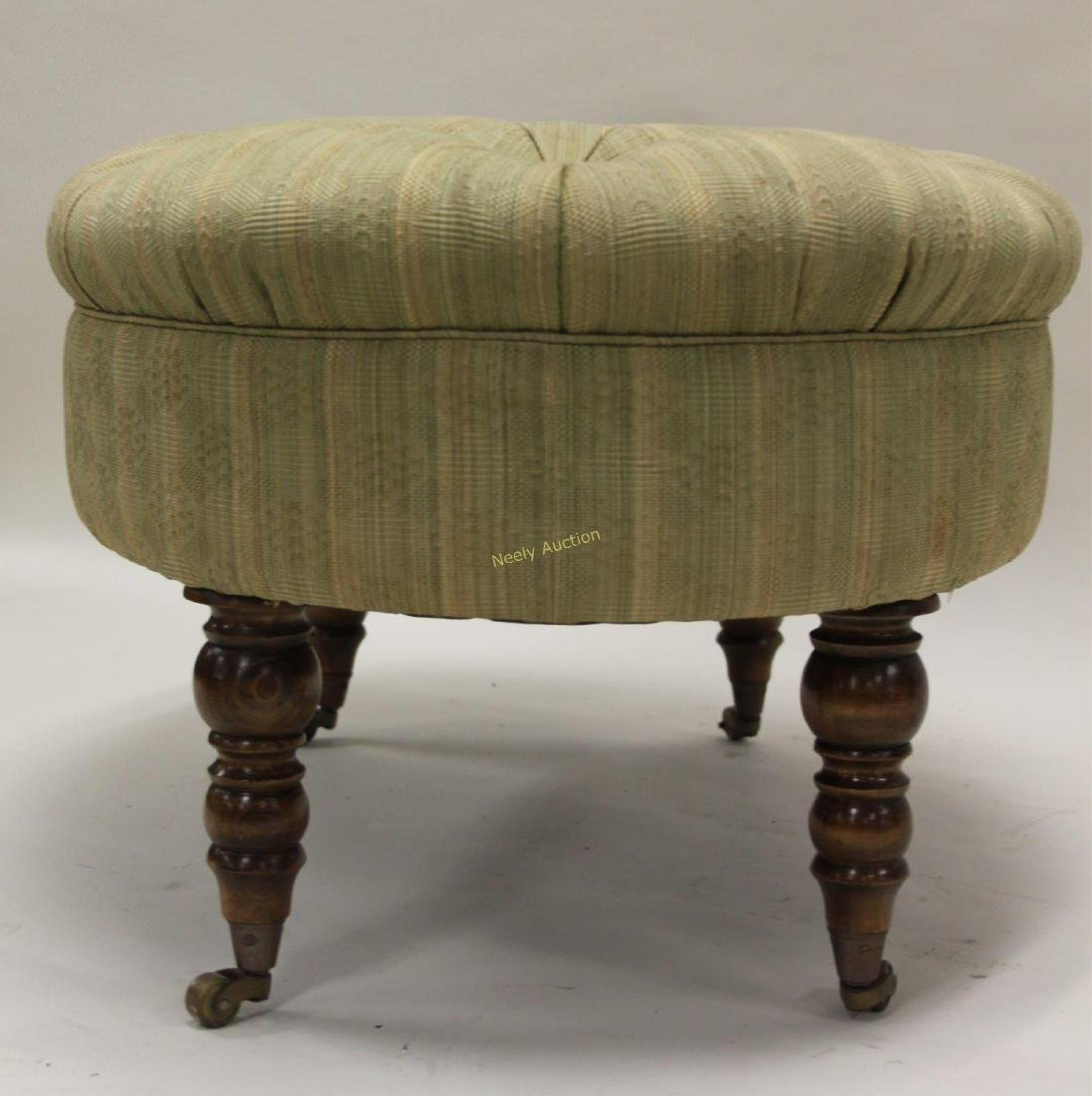 Victorian Tufted Oval Ottoman Legs w Casters - 3