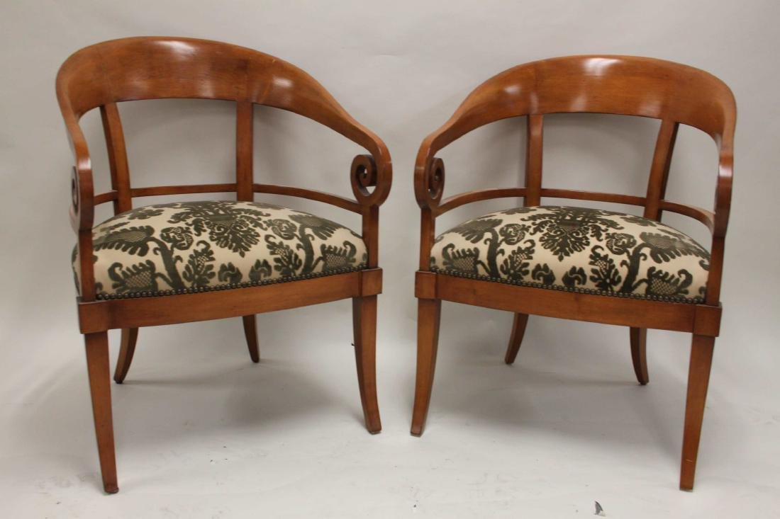 Pair Hollywood Regency Scrolled Arm Club Chairs