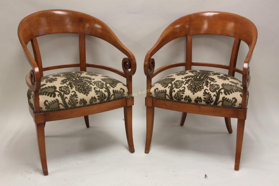 Pair Hollywood Regency Scrolled Arm Club Chairs - 2