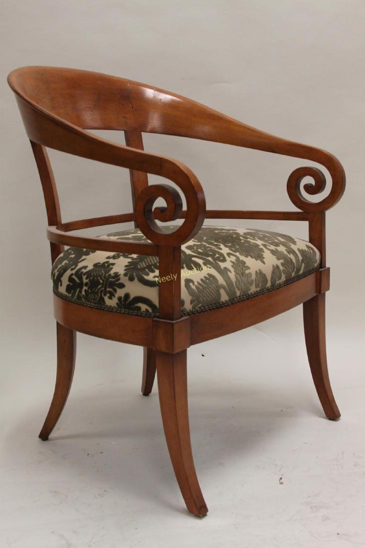 Pair Hollywood Regency Scrolled Arm Club Chairs - 3