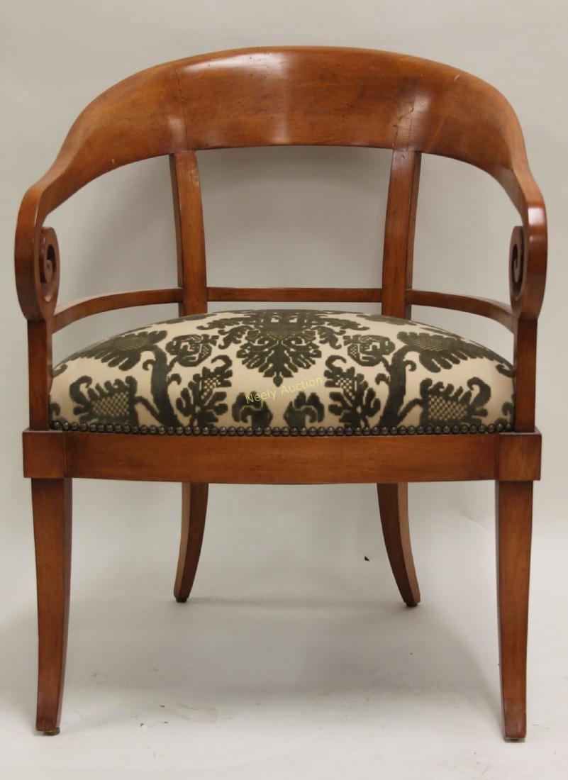Pair Hollywood Regency Scrolled Arm Club Chairs - 4