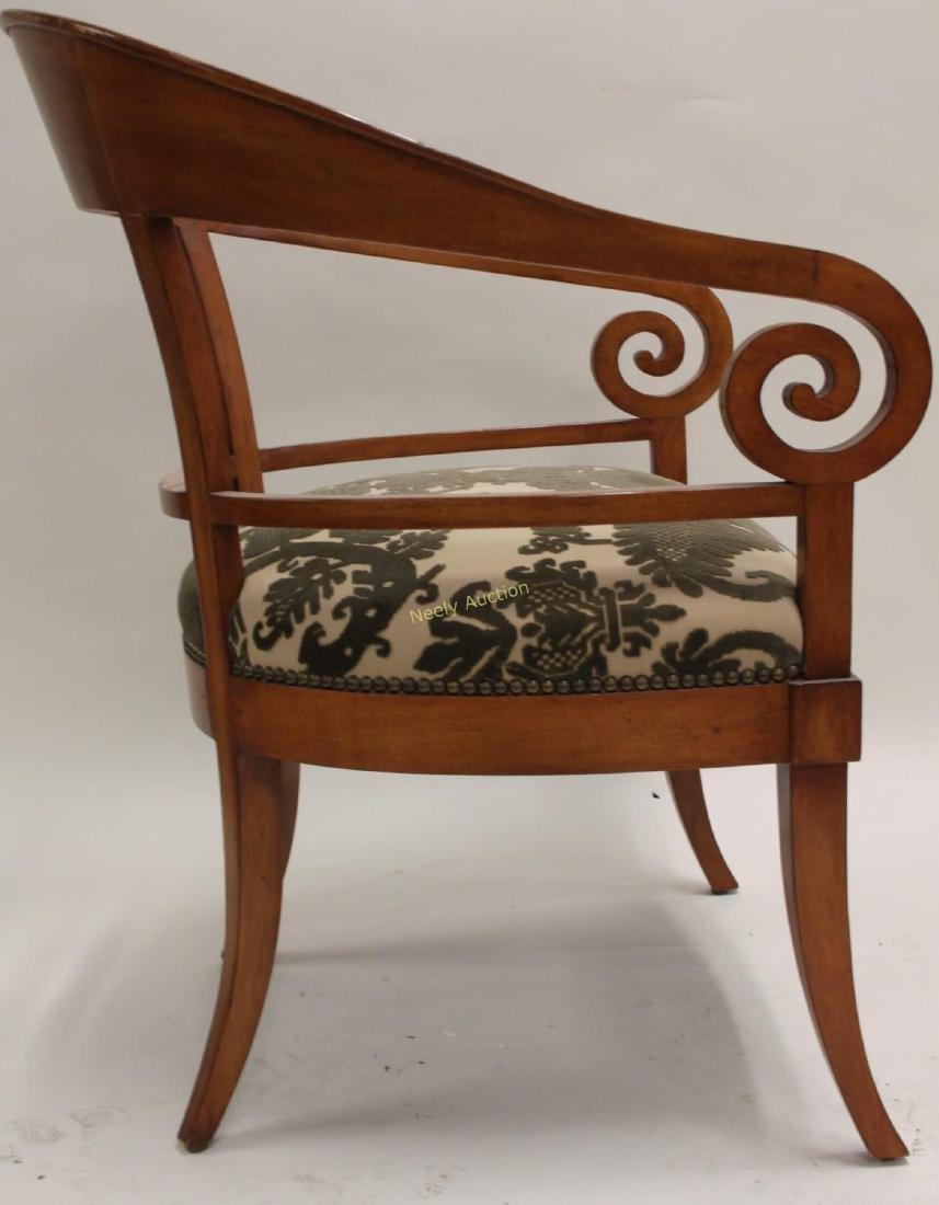 Pair Hollywood Regency Scrolled Arm Club Chairs - 5