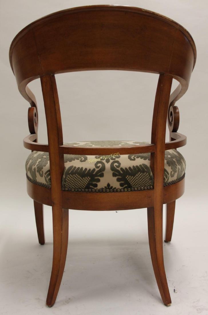 Pair Hollywood Regency Scrolled Arm Club Chairs - 6