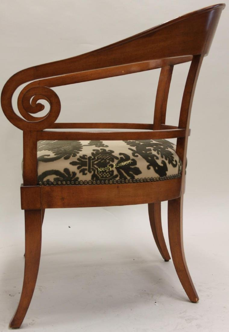 Pair Hollywood Regency Scrolled Arm Club Chairs - 7