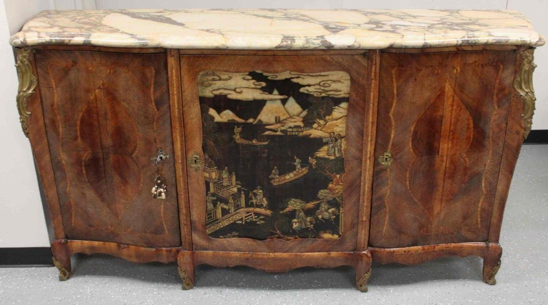 19c French Louis XV Chinoiserie Marble Top Buffet