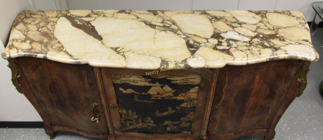 19c French Louis XV Chinoiserie Marble Top Buffet - 3