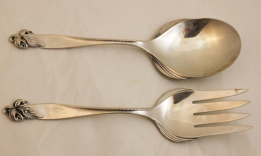 Pair Wallace Orchid Elegance Sterling Fork & Spoon