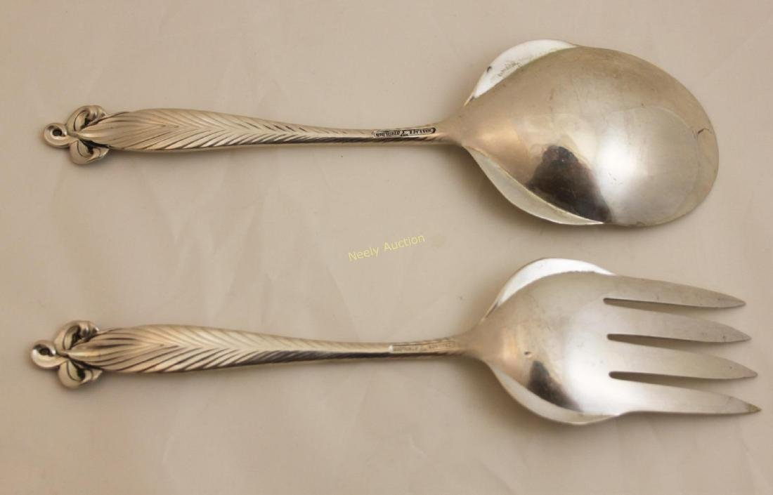 Pair Wallace Orchid Elegance Sterling Fork & Spoon - 2