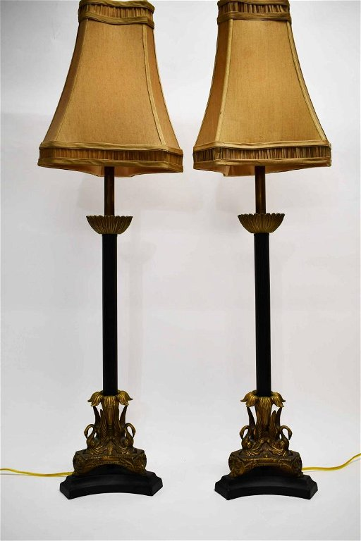 Pair Maitland Smith Et Form Lamps Swan Bases