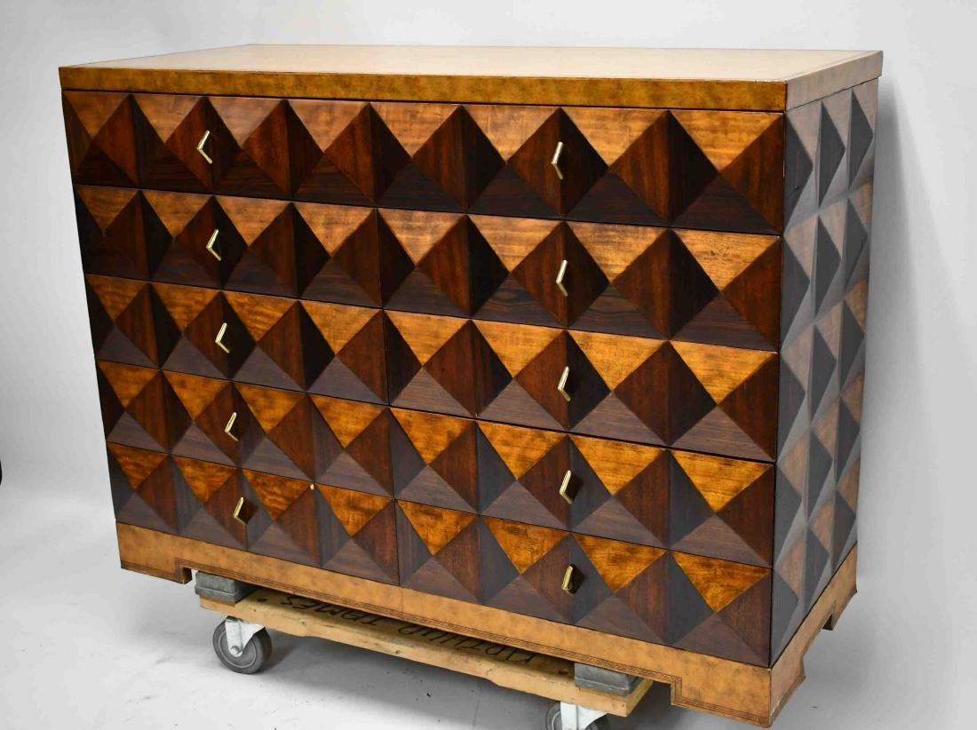 Maitland Smith Pyramid Burl Front Leather Chest
