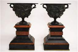 Pair 19c French Bronze  Marble Urn Form Garnishes