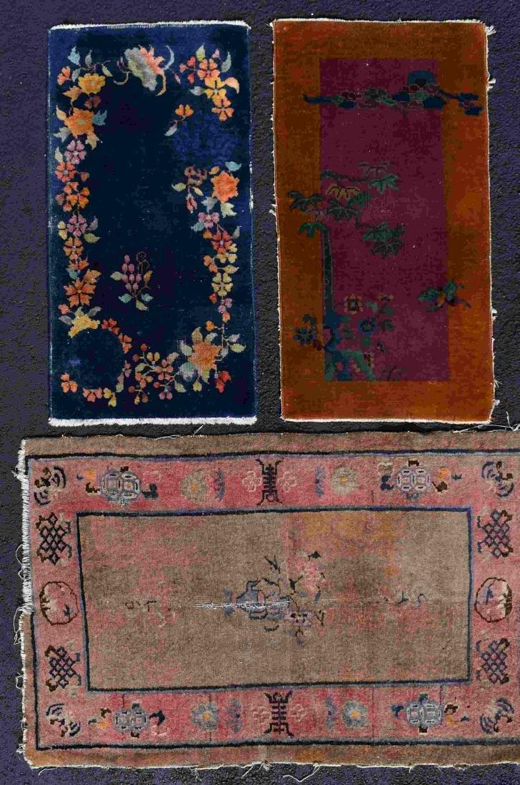 (3) Chinese Nichols Art Deco Wool Throw Rugs