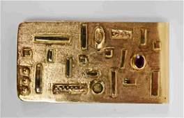 Vintage Kolodny 14k Gold & Ruby Money Clip