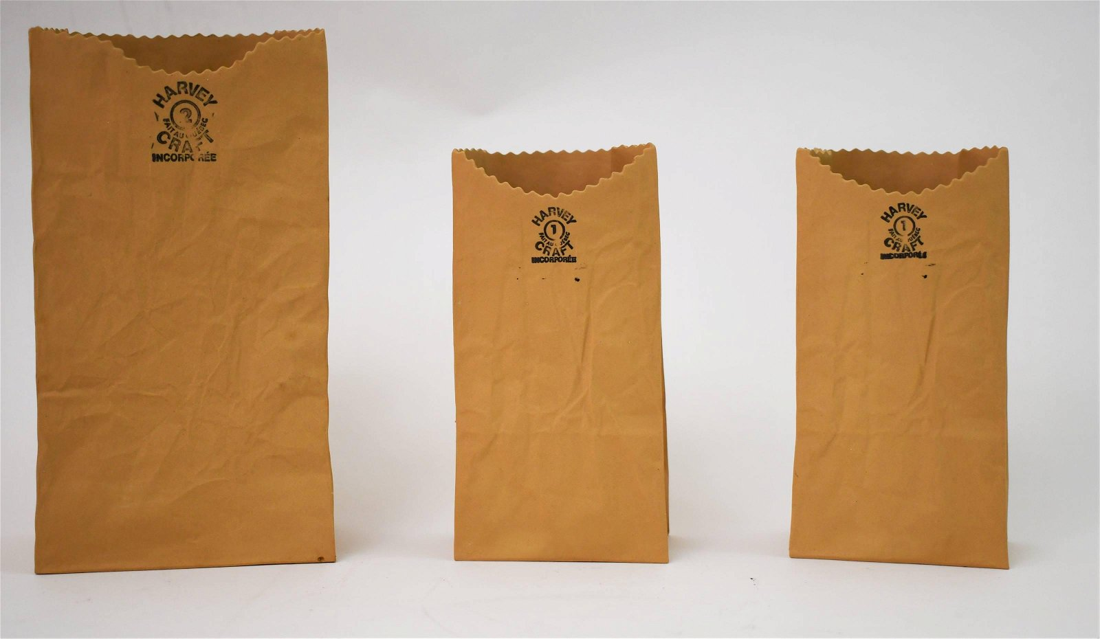 (3) Michel Harvey Craft Ceramic Brown Paper Bags