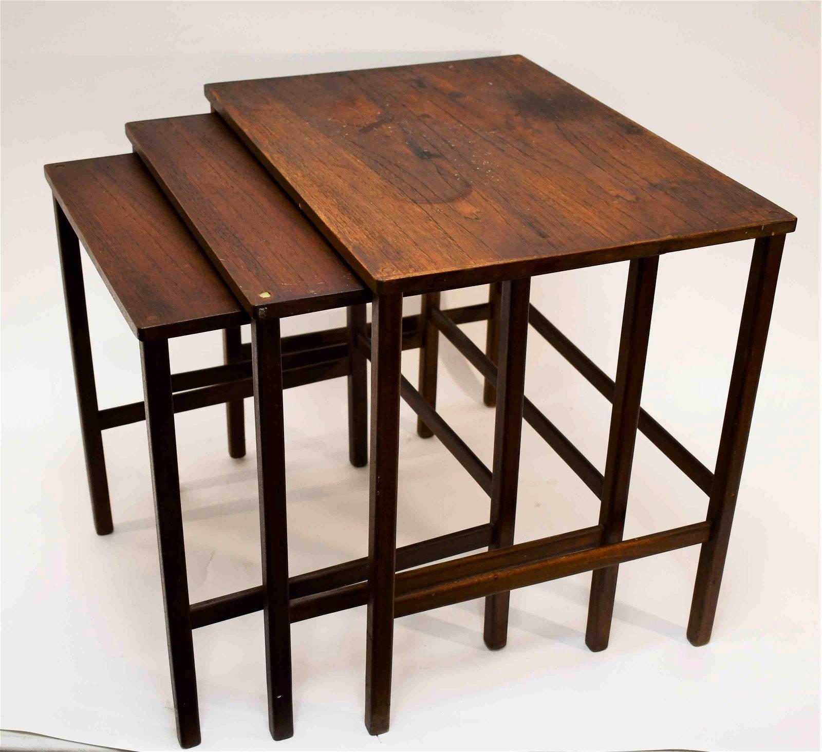 (3) MCM Danish Modern Teak Nesting Tables