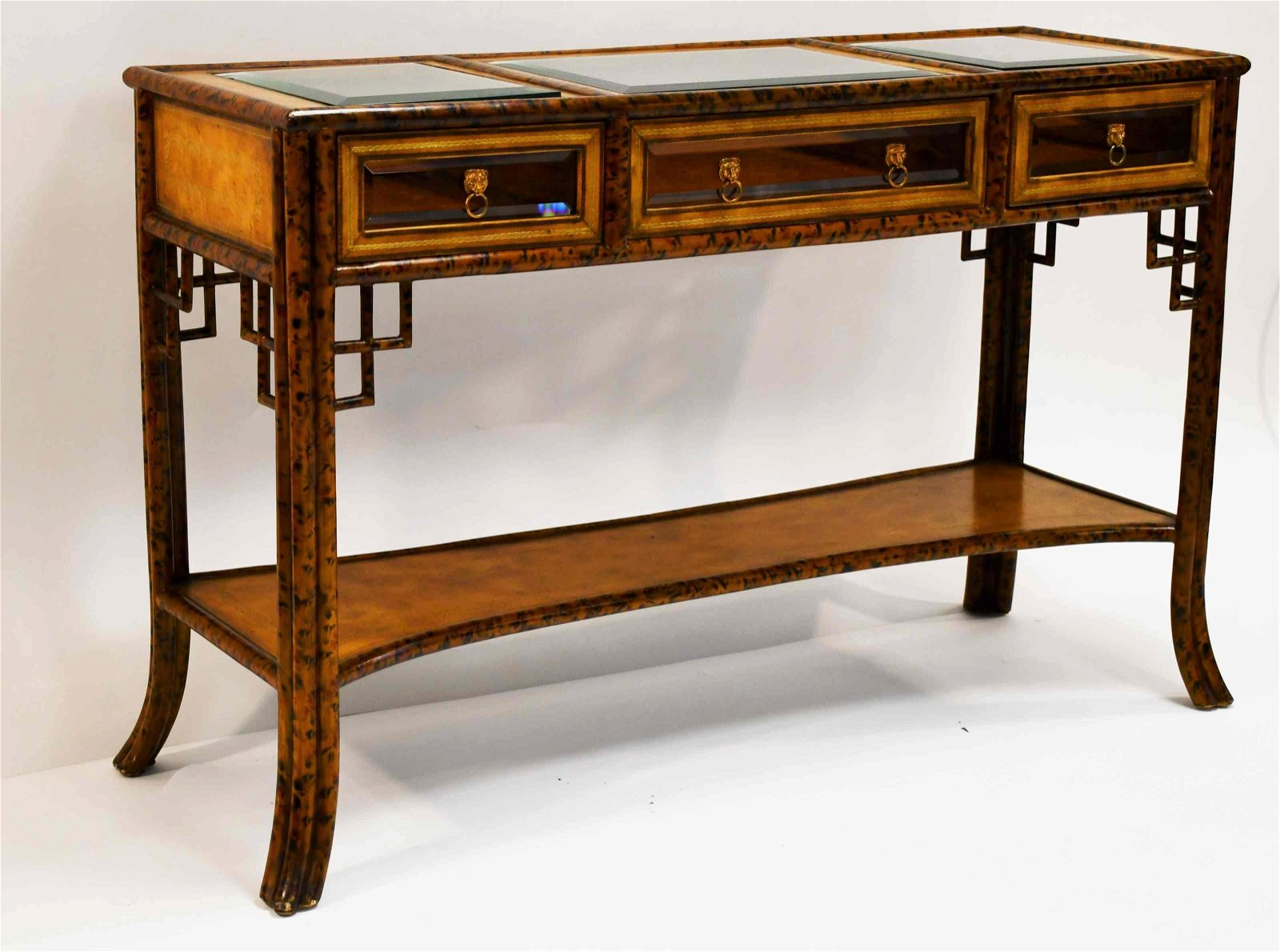 Maitland Smith Bamboo Frame 3 Drawer Consol Table