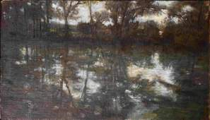 Jack Boul Baltimore Painting of a Woodlands Pond