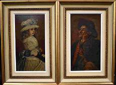 2 Davison 19c Oil Paintings Old Man Young Girl