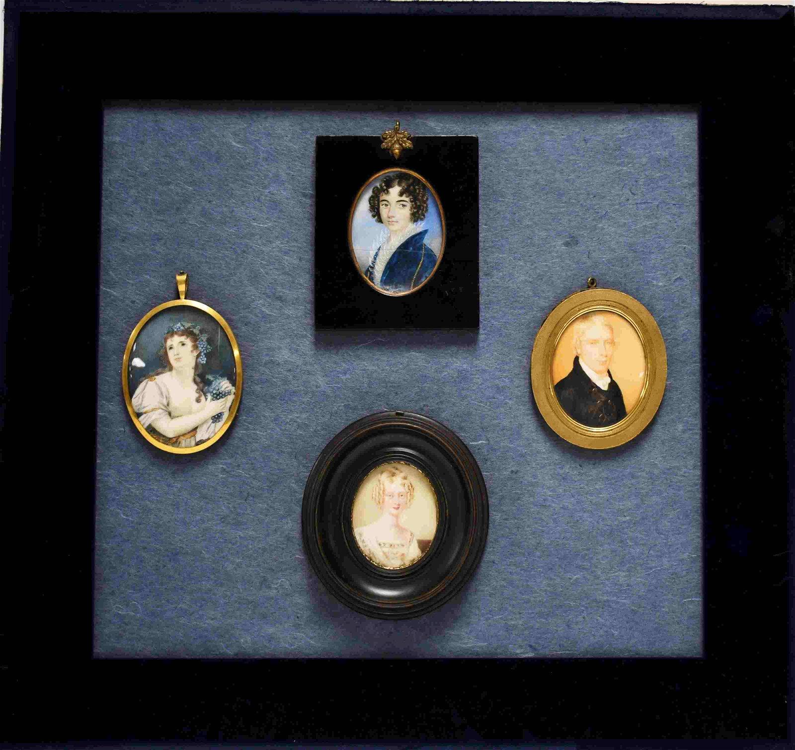 (4) 19c Framed Miniature Portrait Paintings