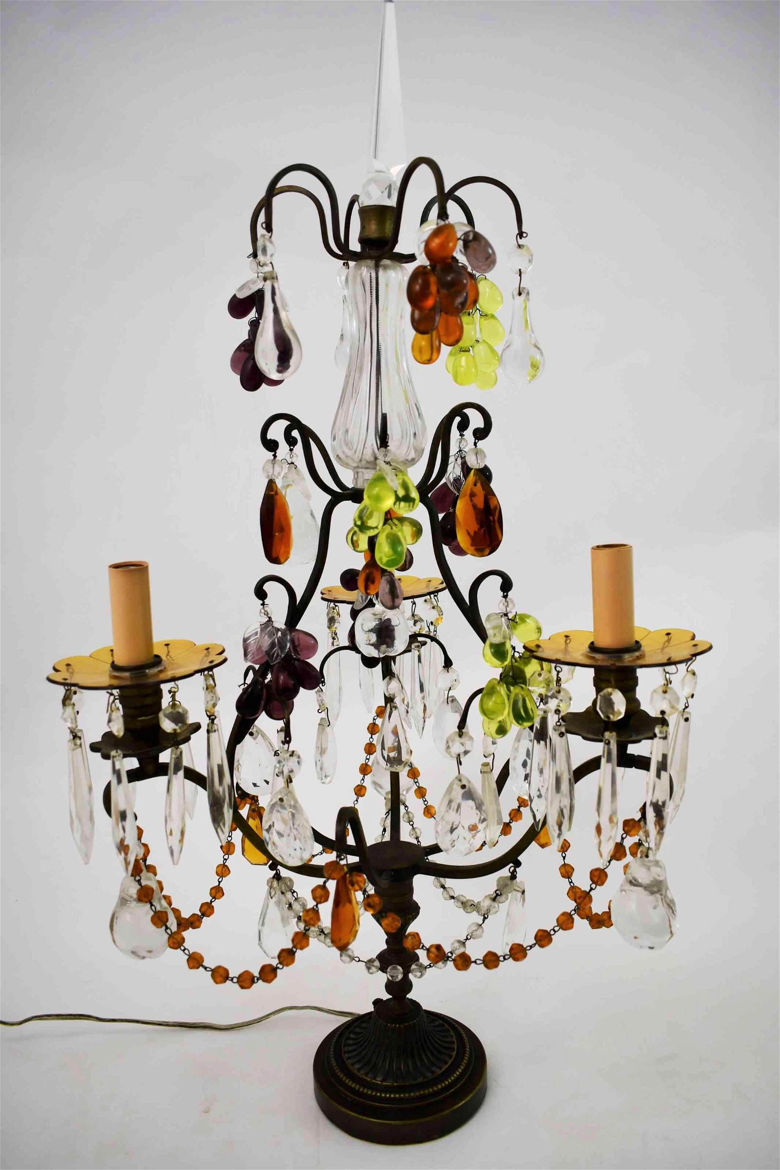 Florentine Cut Glass w Fruit Girandole Table Lamp